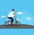 man cycling bicycle holding magnifying glass vector image
