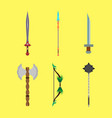 medieval cartoons weapons set concept flat design vector image