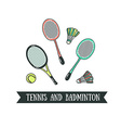 Modern of badminton racket and big tennis sports vector image