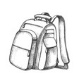 modern tourist backpack suitcase monochrome vector image vector image
