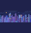night urban building skyscrapers city panorama vector image