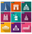 paris landmarks and monuments flat icons vector image vector image