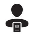 passport icon with male person profile avatar vector image