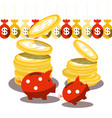 piggy bank and dollar coins with money bags vector image