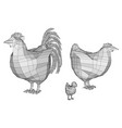 polygonal cock and chicken vector image vector image