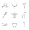 princess fairy tail icon set outline style vector image vector image
