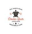 roasters and cafe logo template with turtle cup vector image