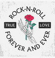 rock and roll t-shirt with rose in skeleton hand vector image