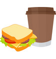 sandwich and coffee isolated vector image