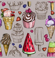 seamless pattern with colorful ice cream vector image vector image