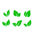 set green leaves iconsset green leaves icons vector image vector image