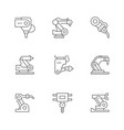 set line icons robotic industry