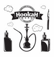 set vintage hookak and vape icons vector image vector image