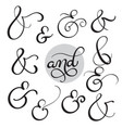 set vintage sign and on white background vector image vector image