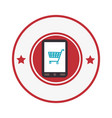 smartphone device with cart shopping isolated icon vector image vector image