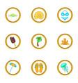 summer trip icons set cartoon style vector image