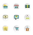 Supermarket buying icons set flat style vector image vector image