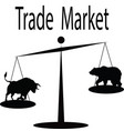 the trade market bull and bear on the scale vector image
