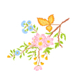Twig shrub whit spring flowers vector image