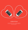 two heart with white phone united wire isolated on vector image