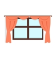 Window with Red Curtains vector image vector image