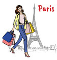 woman with shopping bags in paris vector image vector image