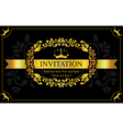 invitation card black and gold style vector image