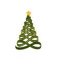 christmas tree made of ribbons vector image