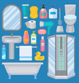 bath equipment icons made in modern shower flat vector image