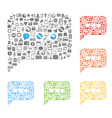 abstract talking clouds of web icons collection vector image vector image