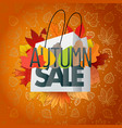 autumn sale composition with the shopping bag vector image