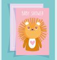 bashower cute little lion portrait cartoon vector image