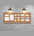 board with wood frame different note vector image vector image