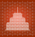 cake with candle sign whitish icon on vector image vector image