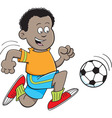 Cartoon african boy playing soccer vector image vector image