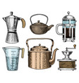 coffee maker or grinder french press measuring vector image