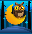 cute cartoon owl sits on the slumbering crescent vector image vector image