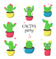 cute funny cartoon cactuses isolated vector image vector image