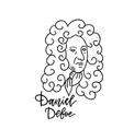 daniel defoe linear sketch portrait isolated on vector image