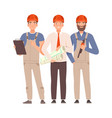 engineer and two builders with tools vector image vector image
