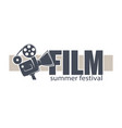 film summer festival banner with movies reel and vector image
