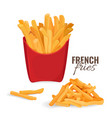 french fries potatoes in red paper carton package vector image