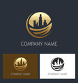 gold cityscape environment building logo vector image