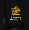 gold happy birthday greeting card vector image vector image