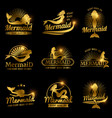 golden mermaid labels shiny resort beach spa vector image