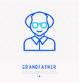 grandfather in glasses thin line icon vector image vector image