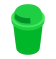 Green outdoor bin icon isometric 3d style vector image vector image