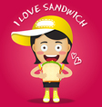 happy woman carrying big sandwich vector image vector image
