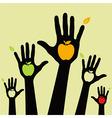 healthy apple hands vector image vector image