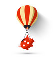 hot air balloon with piggy bank vector image vector image
